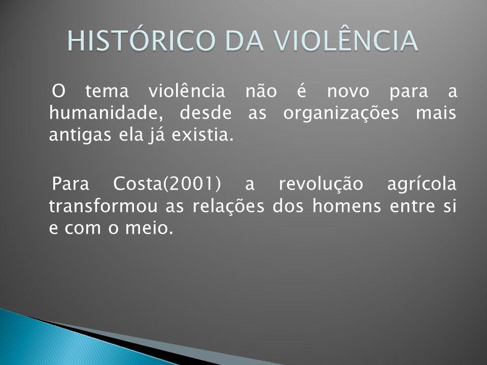 O tema violência não é novo para a humanidade, desde as organizações mais antigas ela já existia. Para Costa(2001) a revolução agrícola transformou as