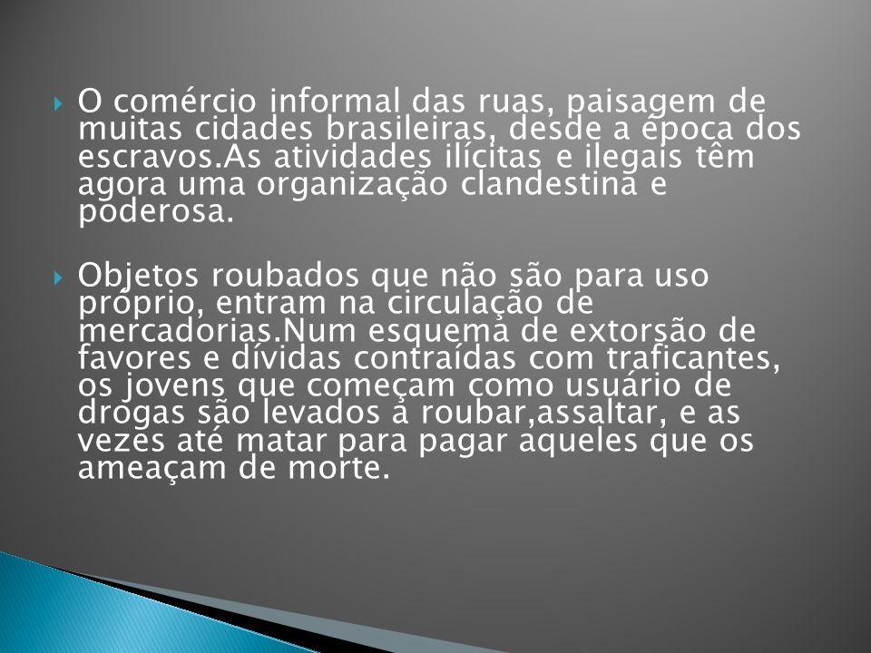 O comércio informal das ruas, paisagem de muitas cidades brasileiras, desde a época dos escravos.As atividades ilícitas e ilegais têm agora uma organi