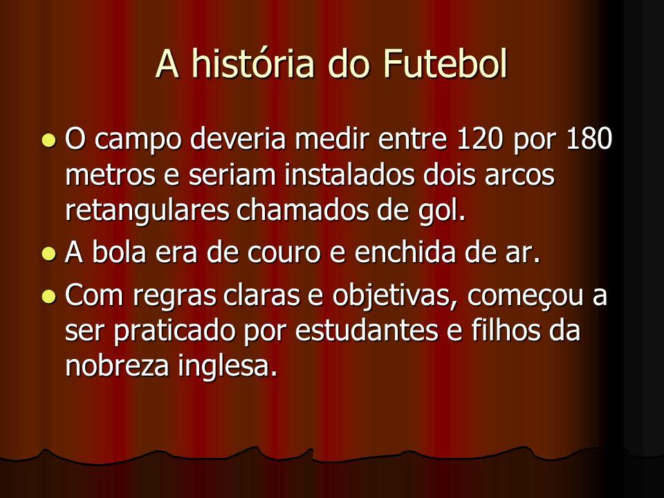 A história do Futebol O campo deveria medir entre 120 por 180 metros e seriam instalados dois arcos retangulares chamados de gol. O campo deveria medi