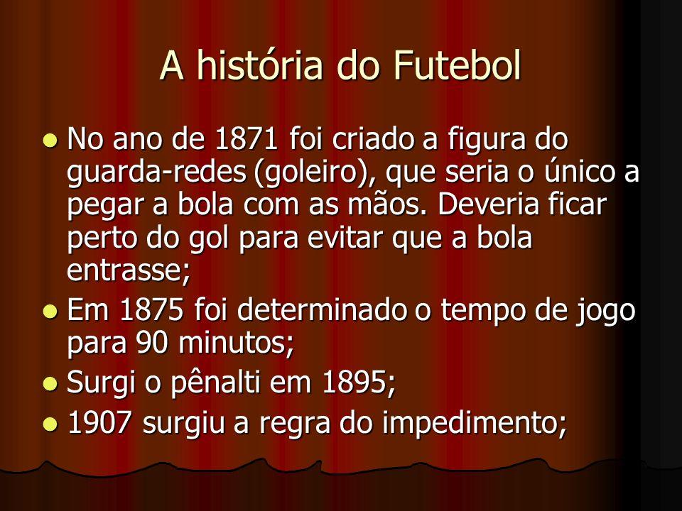 A história do Futebol No ano de 1871 foi criado a figura do guarda-redes (goleiro), que seria o único a pegar a bola com as mãos. Deveria ficar perto