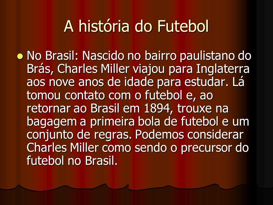 A história do Futebol No Brasil: Nascido no bairro paulistano do Brás, Charles Miller viajou para Inglaterra aos nove anos de idade para estudar. Lá t