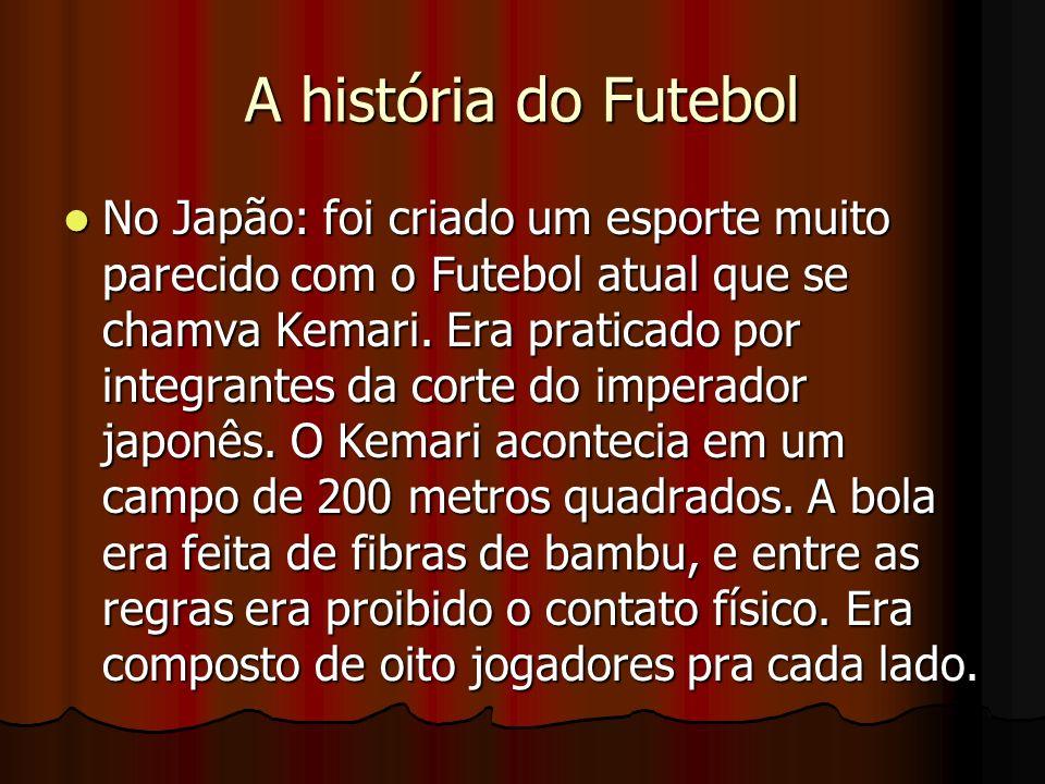 A história do Futebol No Japão: foi criado um esporte muito parecido com o Futebol atual que se chamva Kemari. Era praticado por integrantes da corte