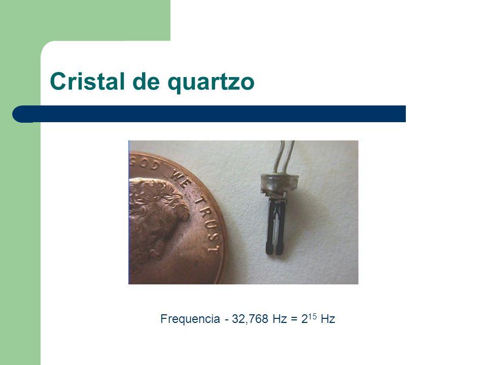 Cristal de quartzo Frequencia - 32,768 Hz = 2 15 Hz