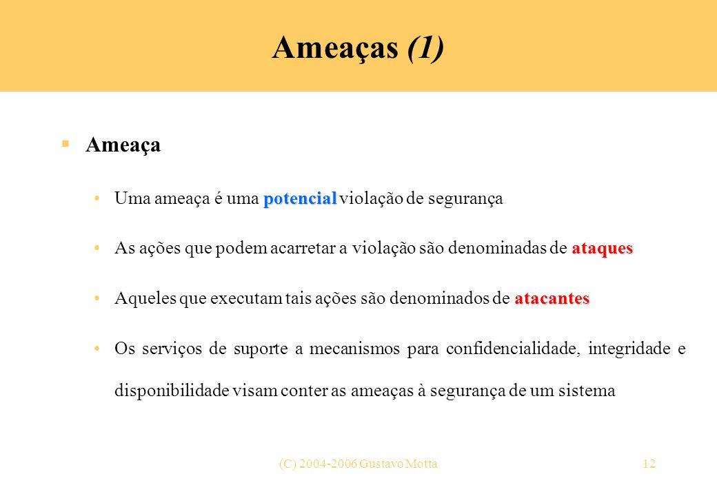 (C) 2004-2006 Gustavo Motta12 Ameaças (1) Ameaça potencialUma ameaça é uma potencial violação de segurança ataquesAs ações que podem acarretar a viola