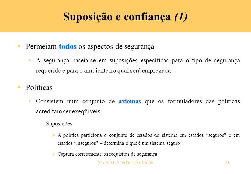 (C) 2004-2006 Gustavo Motta21 Suposição e confiança (1) todos Permeiam todos os aspectos de segurança A segurança baseia-se em suposições específicas