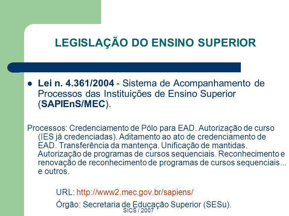 SICS / 2007 LEGISLAÇÃO DO ENSINO SUPERIOR Lei n. 4.361/2004 - Sistema de Acompanhamento de Processos das Instituições de Ensino Superior (SAPIEnS/MEC)