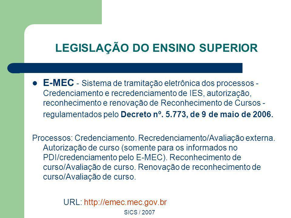 SICS / 2007 LEGISLAÇÃO DO ENSINO SUPERIOR E-MEC - Sistema de tramitação eletrônica dos processos - Credenciamento e recredenciamento de IES, autorizaç