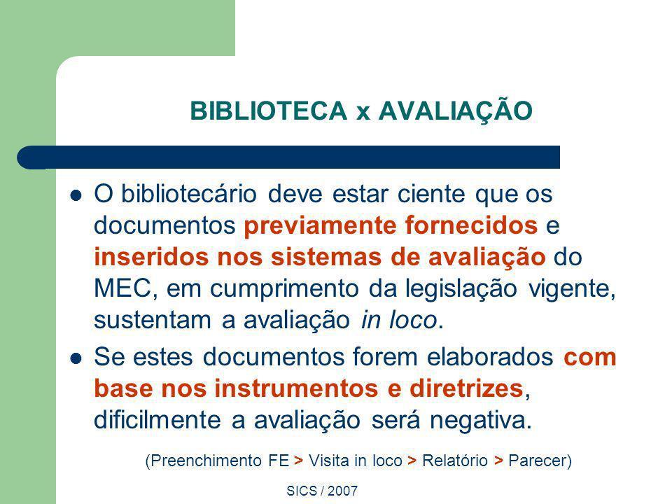 SICS / 2007 BIBLIOTECA x AVALIAÇÃO O bibliotecário deve estar ciente que os documentos previamente fornecidos e inseridos nos sistemas de avaliação do