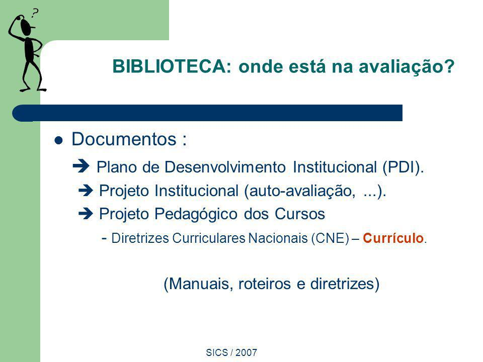 SICS / 2007 BIBLIOTECA: onde está na avaliação? Documentos : Plano de Desenvolvimento Institucional (PDI). Projeto Institucional (auto-avaliação,...).