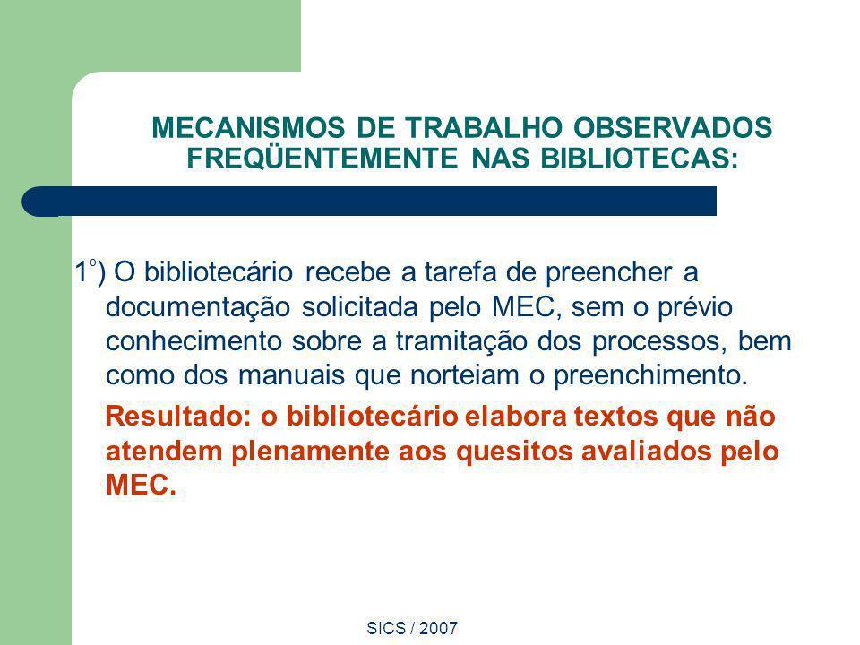 SICS / 2007 MECANISMOS DE TRABALHO OBSERVADOS FREQÜENTEMENTE NAS BIBLIOTECAS: 1 º ) O bibliotecário recebe a tarefa de preencher a documentação solici
