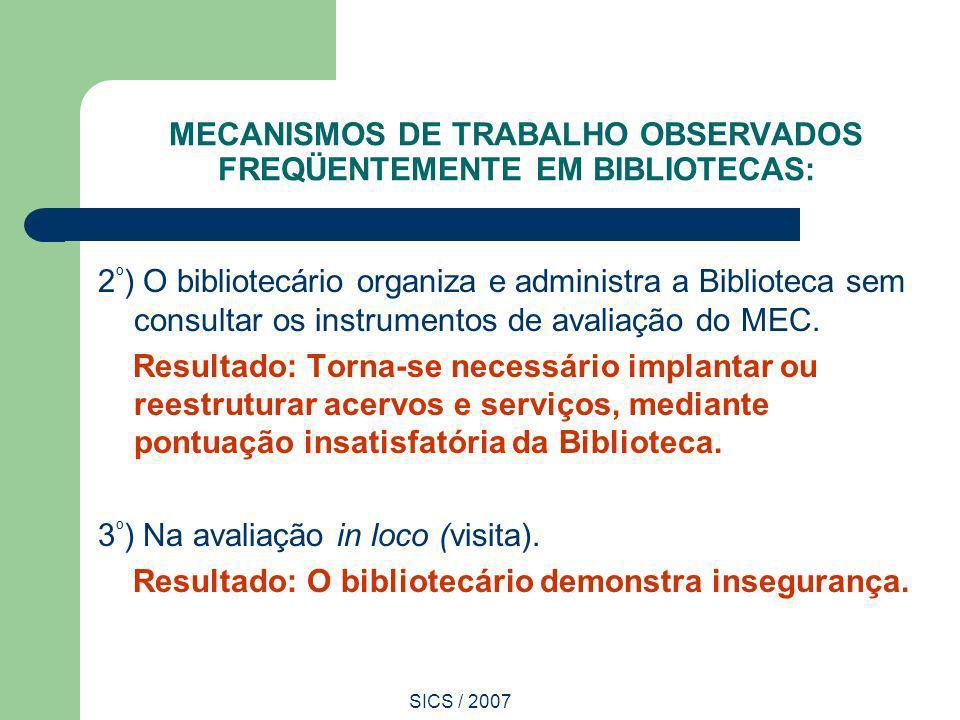 SICS / 2007 MECANISMOS DE TRABALHO OBSERVADOS FREQÜENTEMENTE EM BIBLIOTECAS: 2 º ) O bibliotecário organiza e administra a Biblioteca sem consultar os