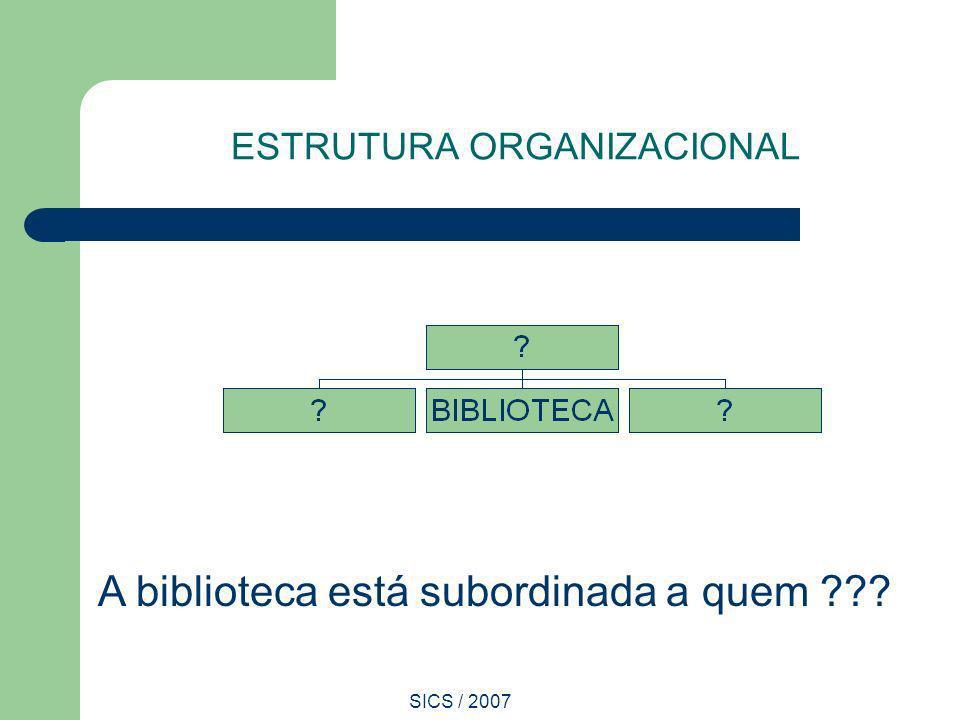 SICS / 2007 ESTRUTURA ORGANIZACIONAL A biblioteca está subordinada a quem ???