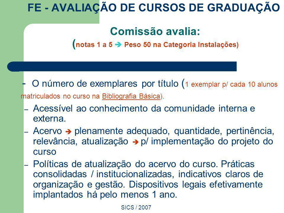 SICS / 2007 FE - AVALIAÇÃO DE CURSOS DE GRADUAÇÃO Comissão avalia: ( notas 1 a 5 Peso 50 na Categoria Instalações) - O número de exemplares por título