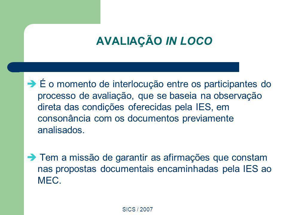 SICS / 2007 AVALIAÇÃO IN LOCO É o momento de interlocução entre os participantes do processo de avaliação, que se baseia na observação direta das cond