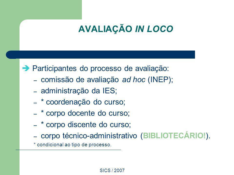 SICS / 2007 AVALIAÇÃO IN LOCO Participantes do processo de avaliação: – comissão de avaliação ad hoc (INEP); – administração da IES; – * coordenação d