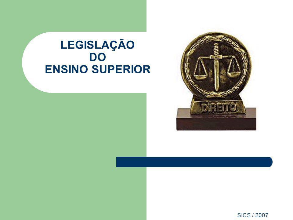 SICS / 2007 LEGISLAÇÃO DO ENSINO SUPERIOR Consultar a legislação pertinente ao ensino superior, considerando o tipo de processo a ser protocolado.