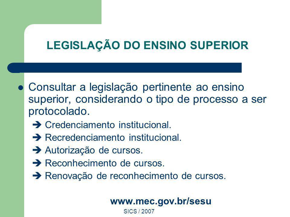 SICS / 2007 LEGISLAÇÃO DO ENSINO SUPERIOR Consultar a legislação pertinente ao ensino superior, considerando o tipo de processo a ser protocolado. Cre