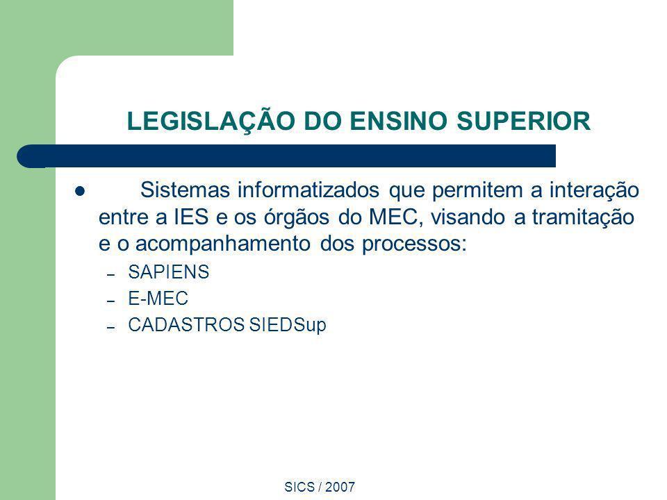 SICS / 2007 LEGISLAÇÃO DO ENSINO SUPERIOR Sistemas informatizados que permitem a interação entre a IES e os órgãos do MEC, visando a tramitação e o ac