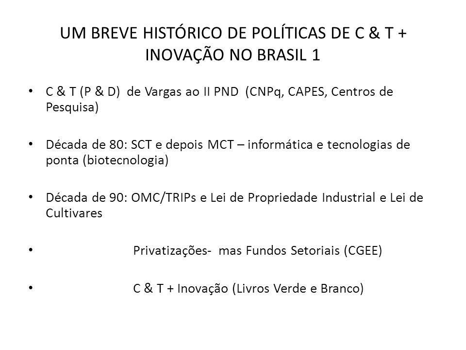 UM BREVE HISTÓRICO DE POLÍTICAS DE C & T + INOVAÇÃO NO BRASIL 1 Década de 00: 1) Relações Universidade – Empresa (Lei de Inovação e Lei do Bem) 2) Parques tecnológicos e incubadoras 3) Inovação como parte integrante de política industrial (PITCE – PACTI) 4) Generalizar modelo Embrapa (SIBRATEC) 5) Descentralização: C & T + Inovação Estadual (FAPs) e Municipal 6) C & T + Inovação para Inclusão Social (SECIS) Indicadores de C & T ainda predominam