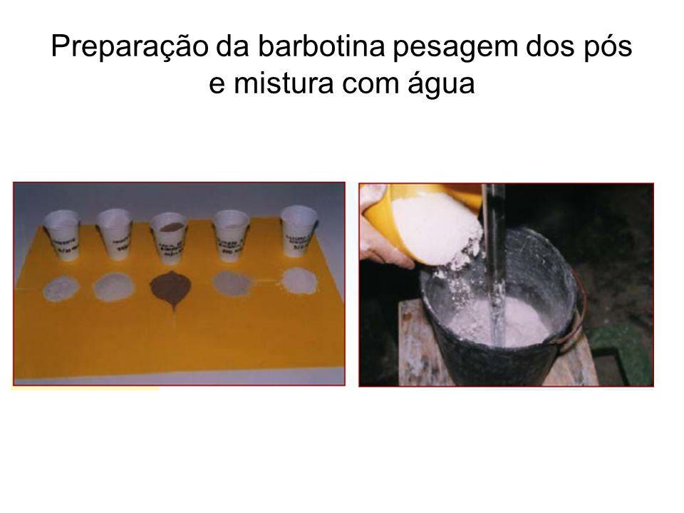 Preparação da barbotina pesagem dos pós e mistura com água