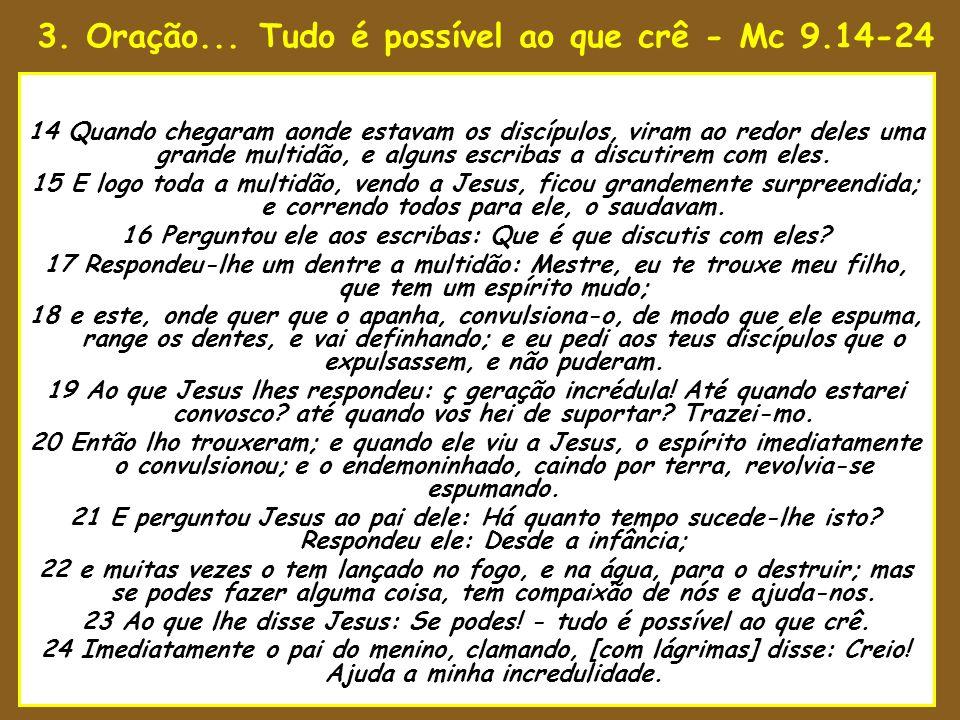 3. Oração... Tudo é possível ao que crê - Mc 9.14-24 8 1 No décimo quinto ano do reinado d 14 Quando chegaram aonde estavam os discípulos, viram ao re