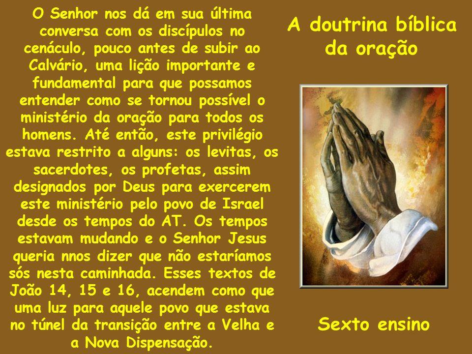 A doutrina bíblica da oração O Senhor nos dá em sua última conversa com os discípulos no cenáculo, pouco antes de subir ao Calvário, uma lição importa