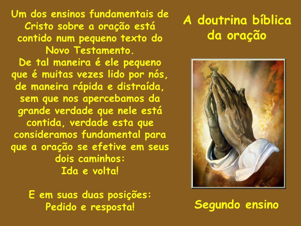 A doutrina bíblica da oração Um dos ensinos fundamentais de Cristo sobre a oração está contido num pequeno texto do Novo Testamento. De tal maneira é