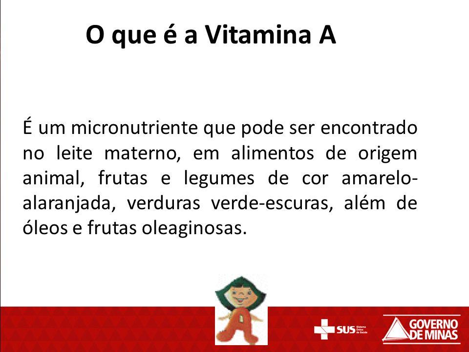 O que é a Vitamina A É um micronutriente que pode ser encontrado no leite materno, em alimentos de origem animal, frutas e legumes de cor amarelo- ala