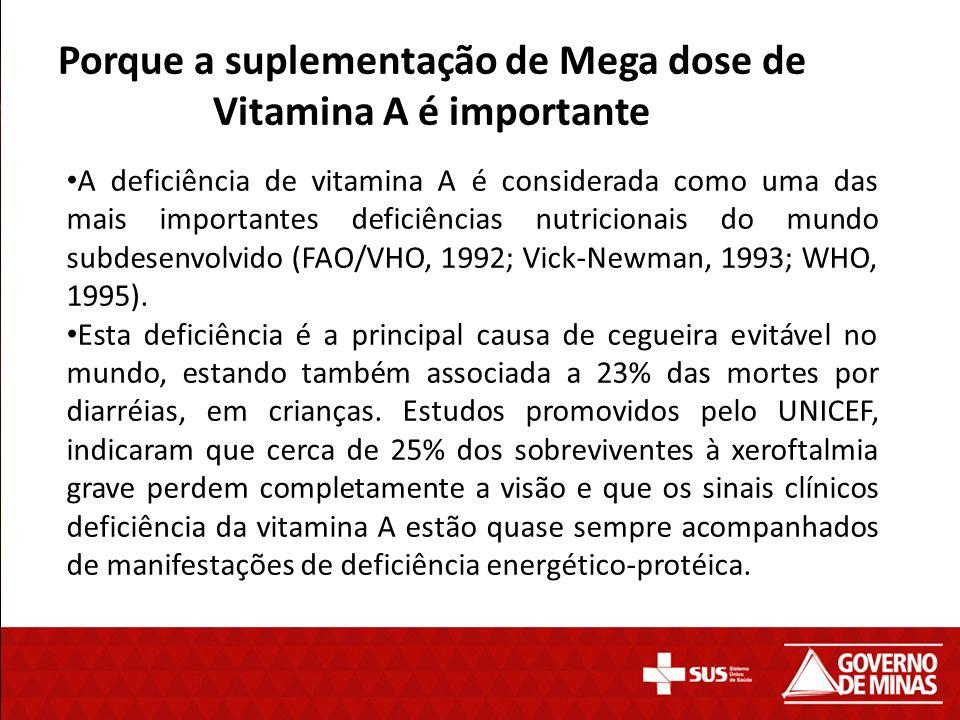 Mega Dose de Vitamina A A composição da mega Dose de vitamina A é: vitamina A na forma líquida, diluída em óleo de soja e acrescida de vitamina E, na dosagem de 100.000UI e 200.000UI.