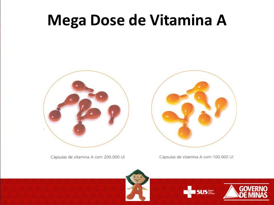 O Ministério da Saúde disponibilizou em agosto de 2012, mega Doses de vitamina A para repor as deficiências nutricionais em crianças de 6 meses a 5 anos incompletos de 42 municípios de Minas Gerais.