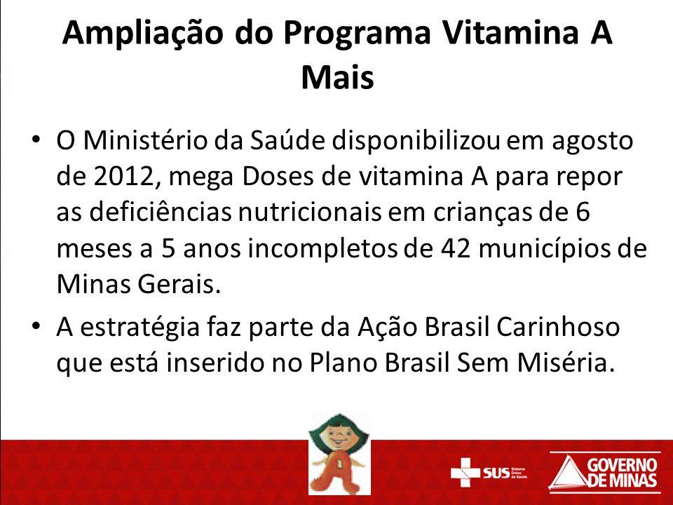 O Ministério da Saúde disponibilizou em agosto de 2012, mega Doses de vitamina A para repor as deficiências nutricionais em crianças de 6 meses a 5 an