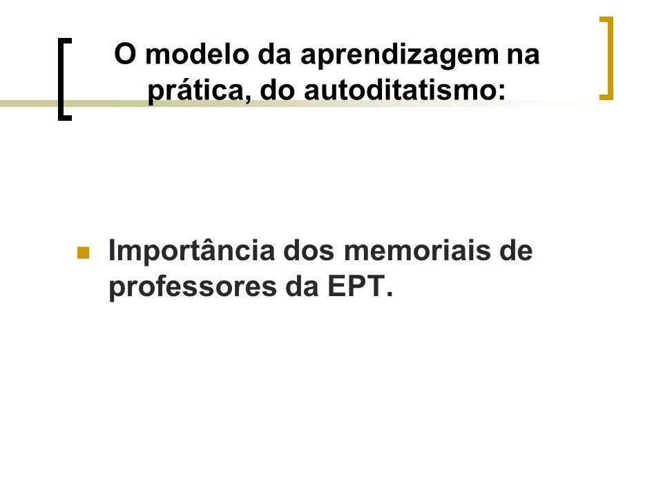 O modelo da aprendizagem na prática, do autoditatismo: Importância dos memoriais de professores da EPT.