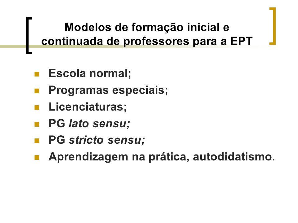 Modelos de formação inicial e continuada de professores para a EPT Escola normal; Programas especiais; Licenciaturas; PG lato sensu; PG stricto sensu;