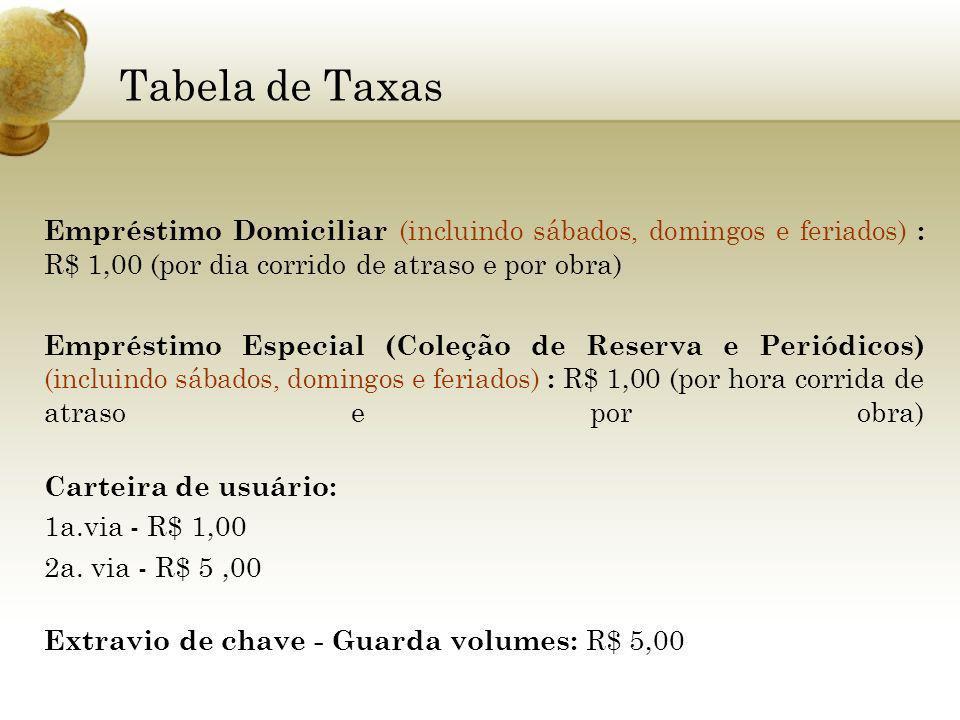 Empréstimo Domiciliar (incluindo sábados, domingos e feriados) : R$ 1,00 (por dia corrido de atraso e por obra) Empréstimo Especial (Coleção de Reserv