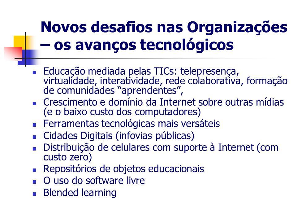 Novos desafios nas Organizações – os avanços tecnológicos Educação mediada pelas TICs: telepresença, virtualidade, interatividade, rede colaborativa,