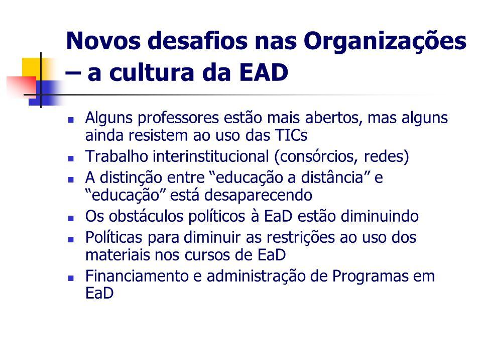 Novos desafios nas Organizações – a cultura da EAD Alguns professores estão mais abertos, mas alguns ainda resistem ao uso das TICs Trabalho interinst
