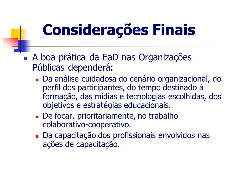 Considerações Finais A boa prática da EaD nas Organizações Públicas dependerá: Da análise cuidadosa do cenário organizacional, do perfil dos participa