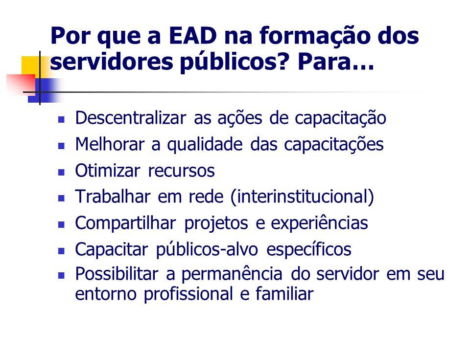 Por que a EAD na formação dos servidores públicos? Para… Descentralizar as ações de capacitação Melhorar a qualidade das capacitações Otimizar recurso