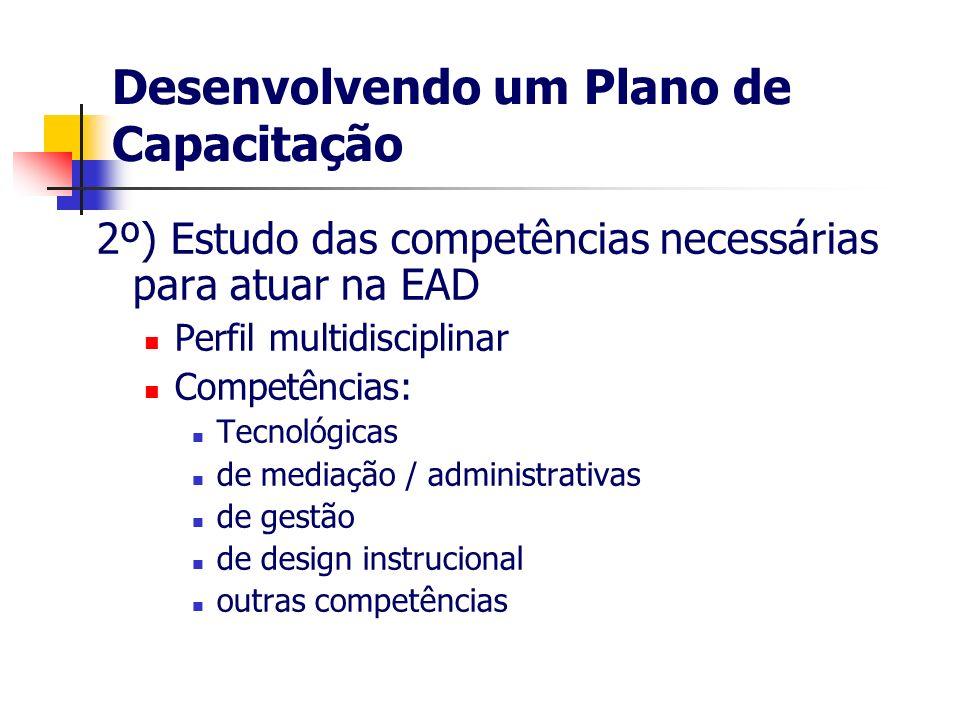 Desenvolvendo um Plano de Capacitação 2º) Estudo das competências necessárias para atuar na EAD Perfil multidisciplinar Competências: Tecnológicas de