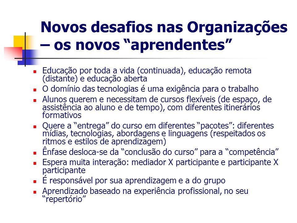 Novos desafios nas Organizações – os novos aprendentes Educação por toda a vida (continuada), educação remota (distante) e educação aberta O domínio d