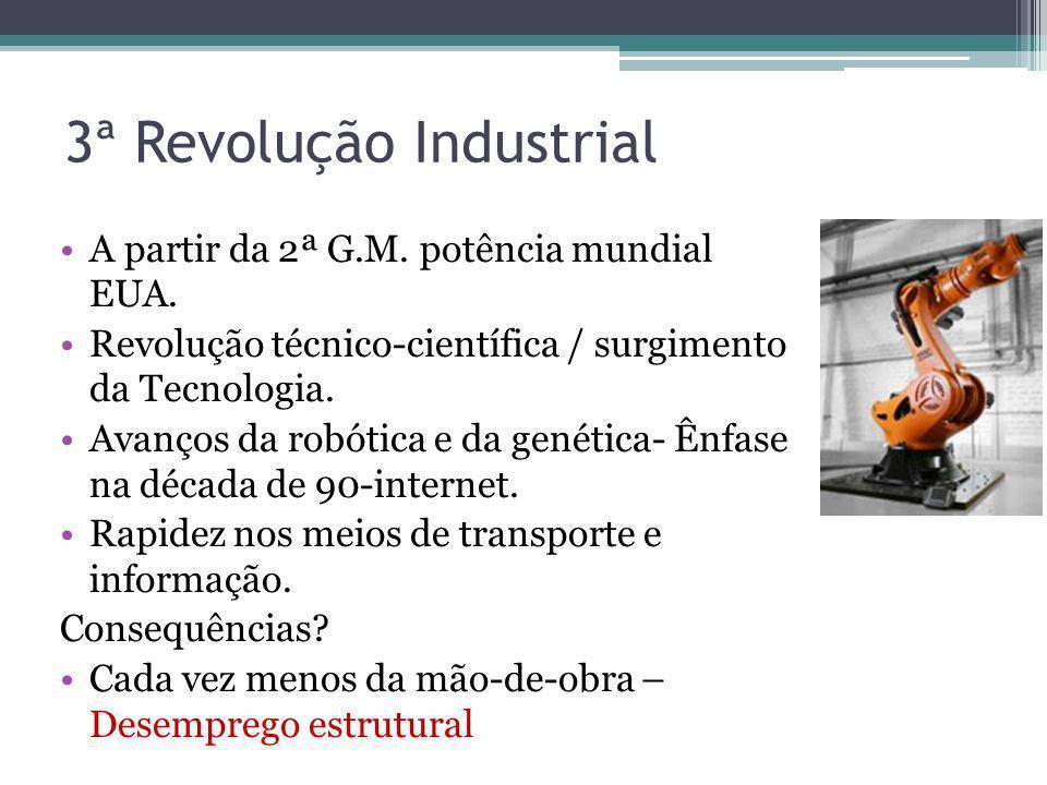 3ª Revolução Industrial A partir da 2ª G.M. potência mundial EUA. Revolução técnico-científica / surgimento da Tecnologia. Avanços da robótica e da ge