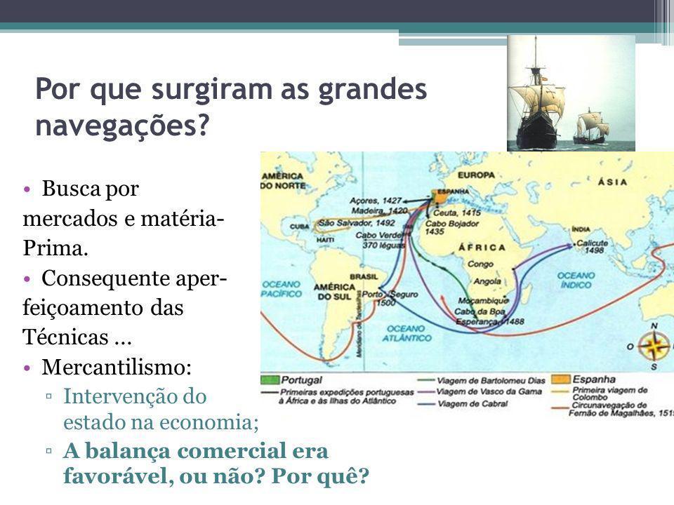 Por que surgiram as grandes navegações? Busca por mercados e matéria- Prima. Consequente aper- feiçoamento das Técnicas... Mercantilismo: Intervenção