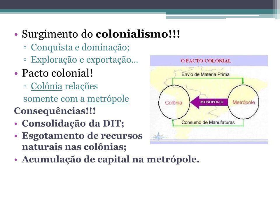 Surgimento do colonialismo!!! Conquista e dominação; Exploração e exportação... Pacto colonial! Colônia relações somente com a metrópole Consequências