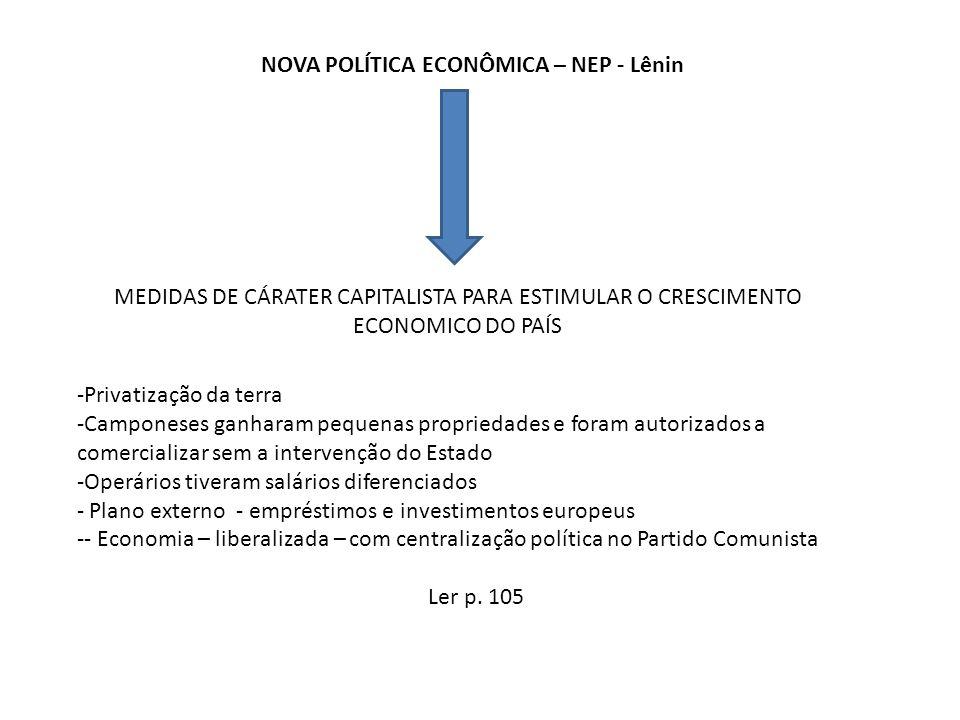 NOVA POLÍTICA ECONÔMICA – NEP - Lênin MEDIDAS DE CÁRATER CAPITALISTA PARA ESTIMULAR O CRESCIMENTO ECONOMICO DO PAÍS -Privatização da terra -Camponeses