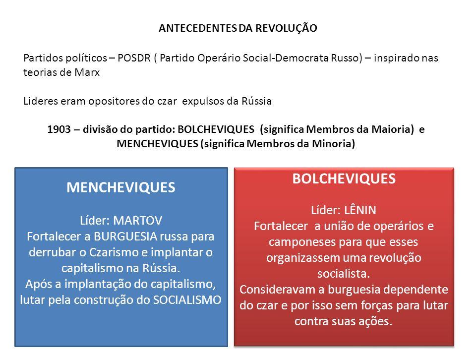 ANTECEDENTES DA REVOLUÇÃO Partidos políticos – POSDR ( Partido Operário Social-Democrata Russo) – inspirado nas teorias de Marx Lideres eram opositore
