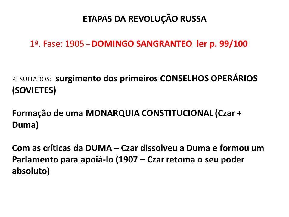 ETAPAS DA REVOLUÇÃO RUSSA 1ª. Fase: 1905 – DOMINGO SANGRANTEO ler p. 99/100 RESULTADOS: surgimento dos primeiros CONSELHOS OPERÁRIOS (SOVIETES) Formaç