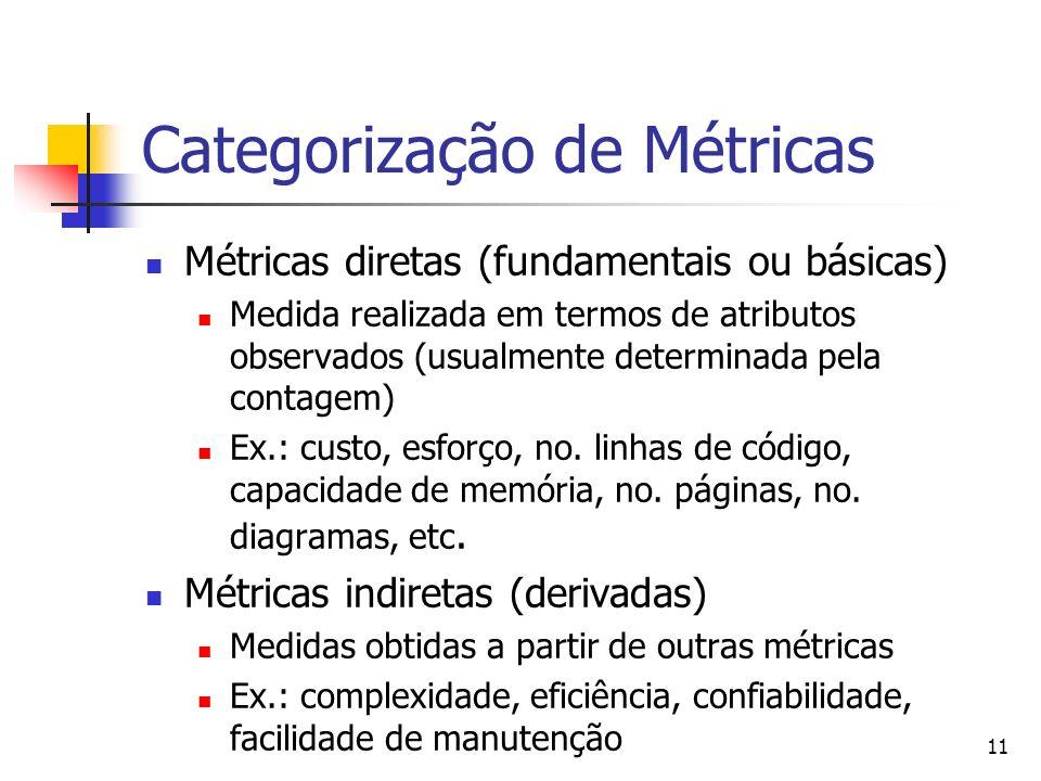 11 Categorização de Métricas Métricas diretas (fundamentais ou básicas) Medida realizada em termos de atributos observados (usualmente determinada pel