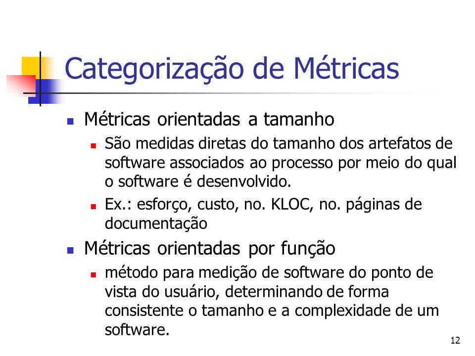 12 Categorização de Métricas Métricas orientadas a tamanho São medidas diretas do tamanho dos artefatos de software associados ao processo por meio do