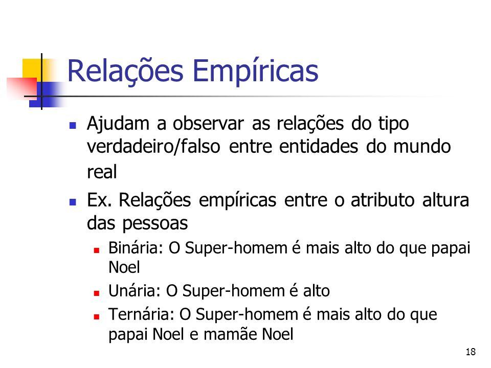 18 Relações Empíricas Ajudam a observar as relações do tipo verdadeiro/falso entre entidades do mundo real Ex. Relações empíricas entre o atributo alt