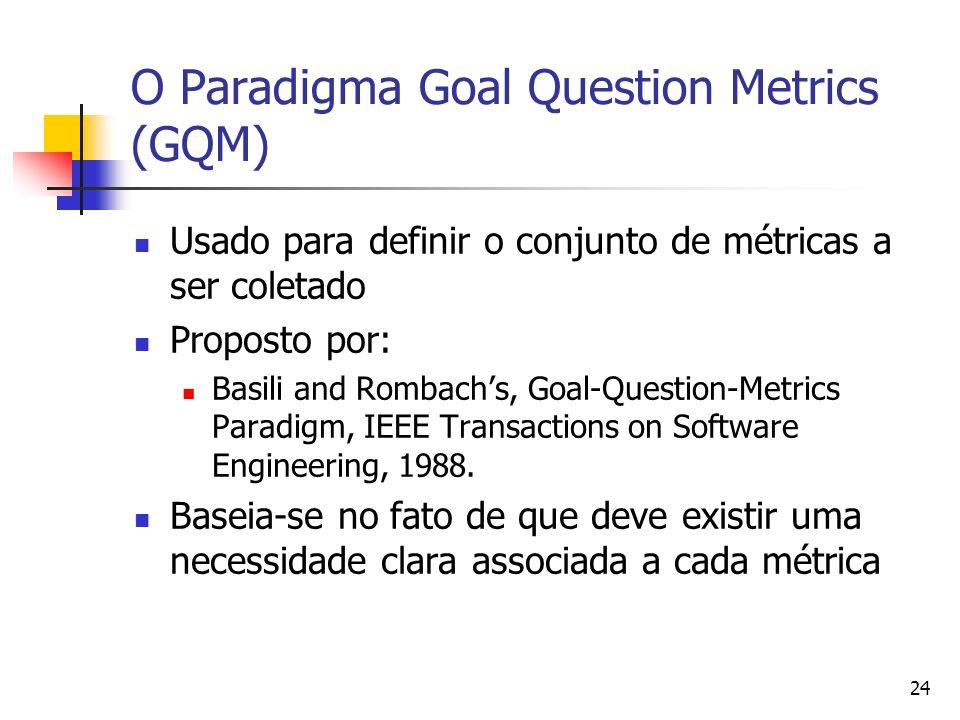 24 O Paradigma Goal Question Metrics (GQM) Usado para definir o conjunto de métricas a ser coletado Proposto por: Basili and Rombachs, Goal-Question-M